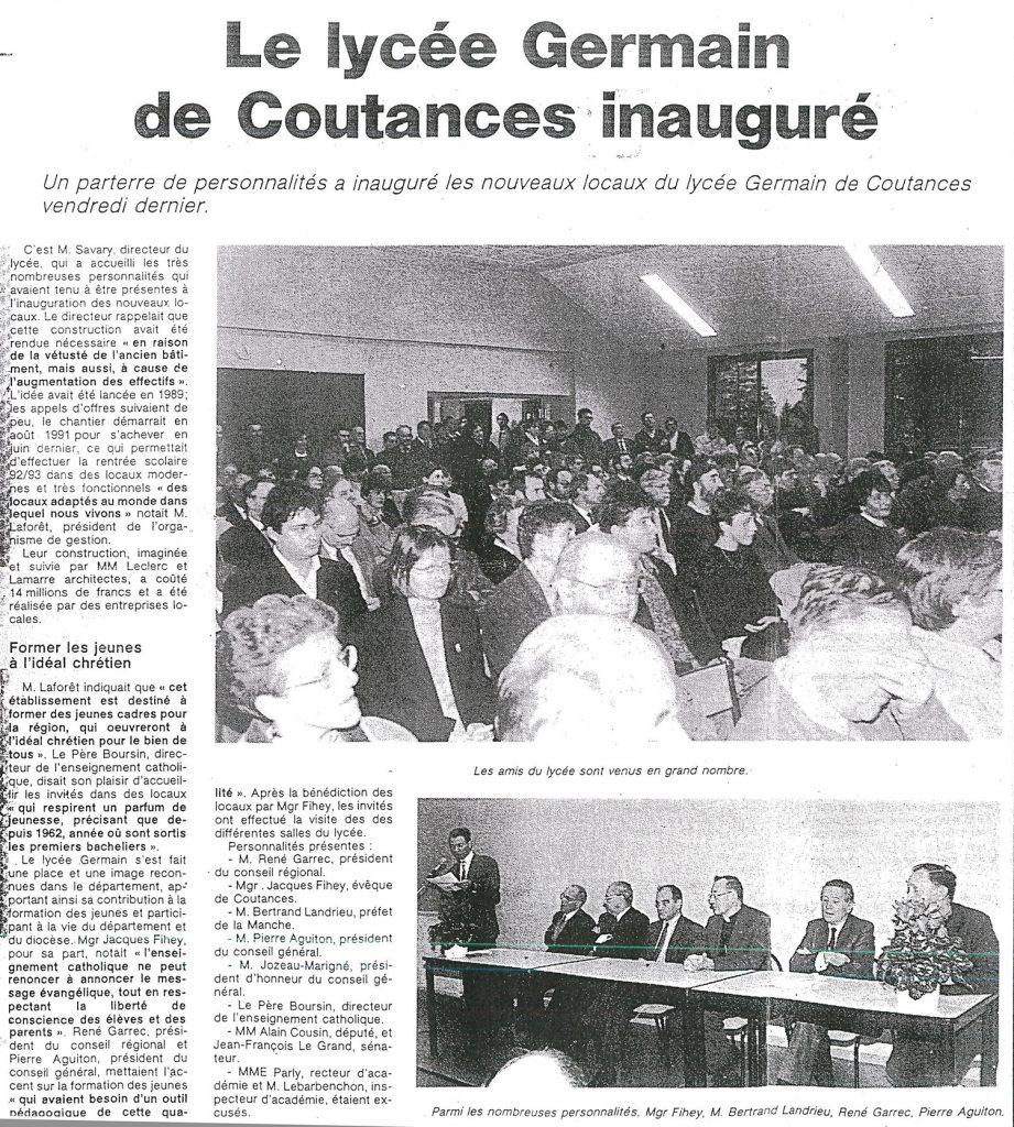 Inauguration du lycée Germain de Coutances