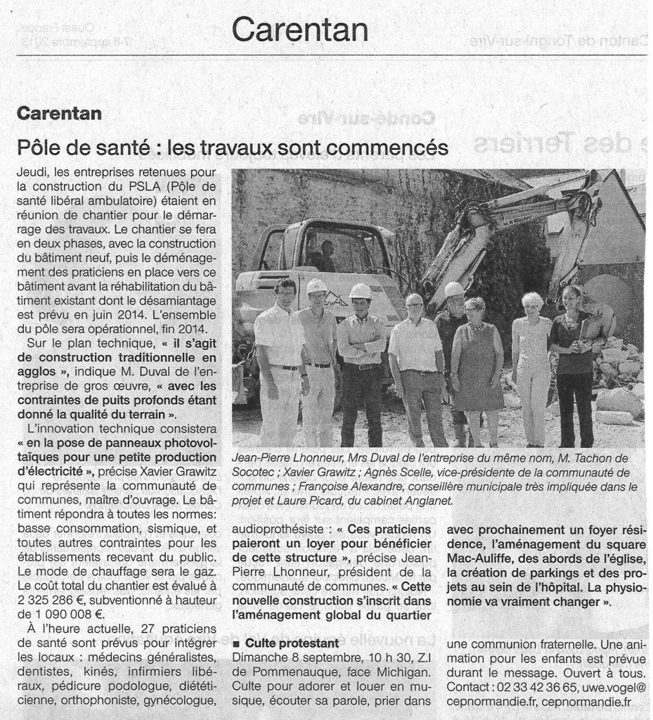 Début des travaux du Pôle santé de Carentan