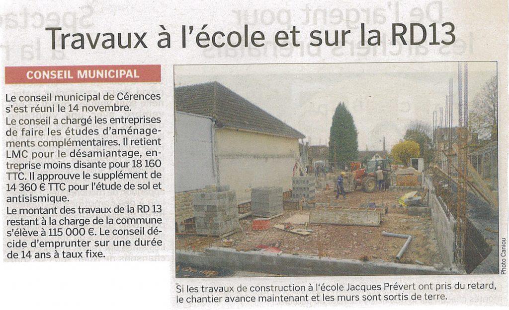 École Jaques Prévert de Cérences et sur la DR13